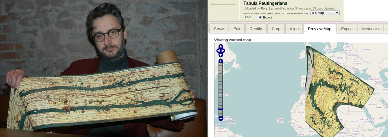 Laurence Penney presents one of his strip-map tresure, the Tabula Peutingeriana before and after MapWarper.