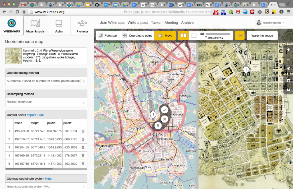 MapWarper concept mock-up integrating with the OpenStreetMap iD experience.