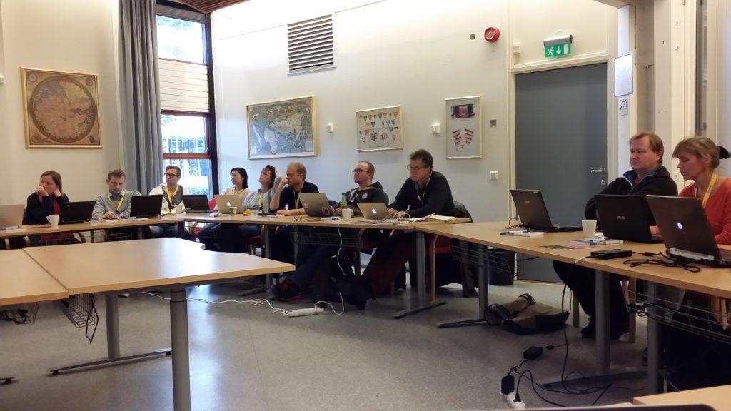 Nordic Open Geo Data Gathering participants at Norwegian mapping authority Kartverket's headquarters in Hønefoss, Norway